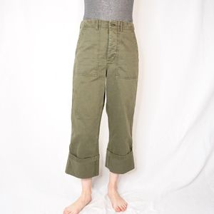 J. CREW Army Green Cuffed Wide Pants 1025